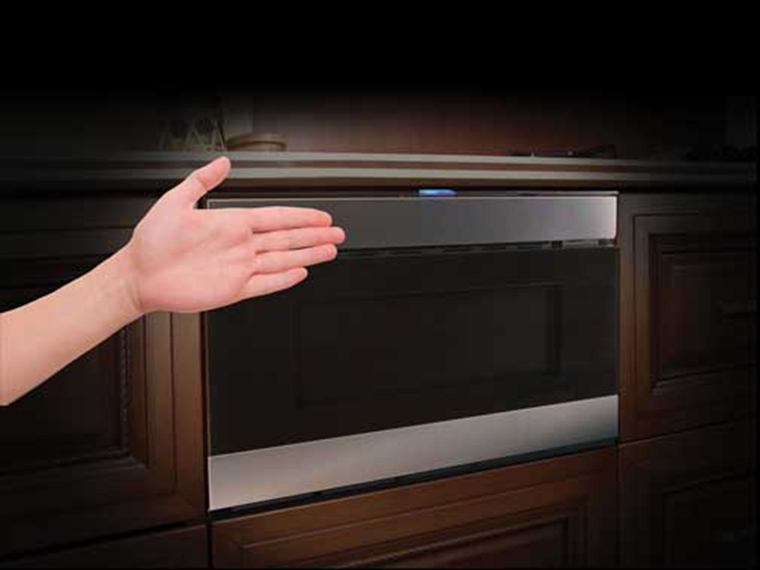 The Easy Wave Open Drawer System of the 24 in. Sharp Stainless Steel IoT Microwave Drawer (SMD2489ES)